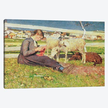 A Girl Knitting, 1888 Canvas Print #BMN11636} by Giovanni Segantini Canvas Artwork