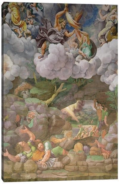 Detail Of The South Wall, Fall Of The Giants Fresco, Sala dei Giganti, 1530-34 Canvas Art Print