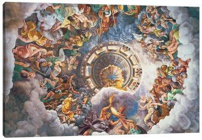 Detail Of The Vault, Fall Of The Giants Fresco, Sala dei Giganti, 1530-34 Canvas Art Print