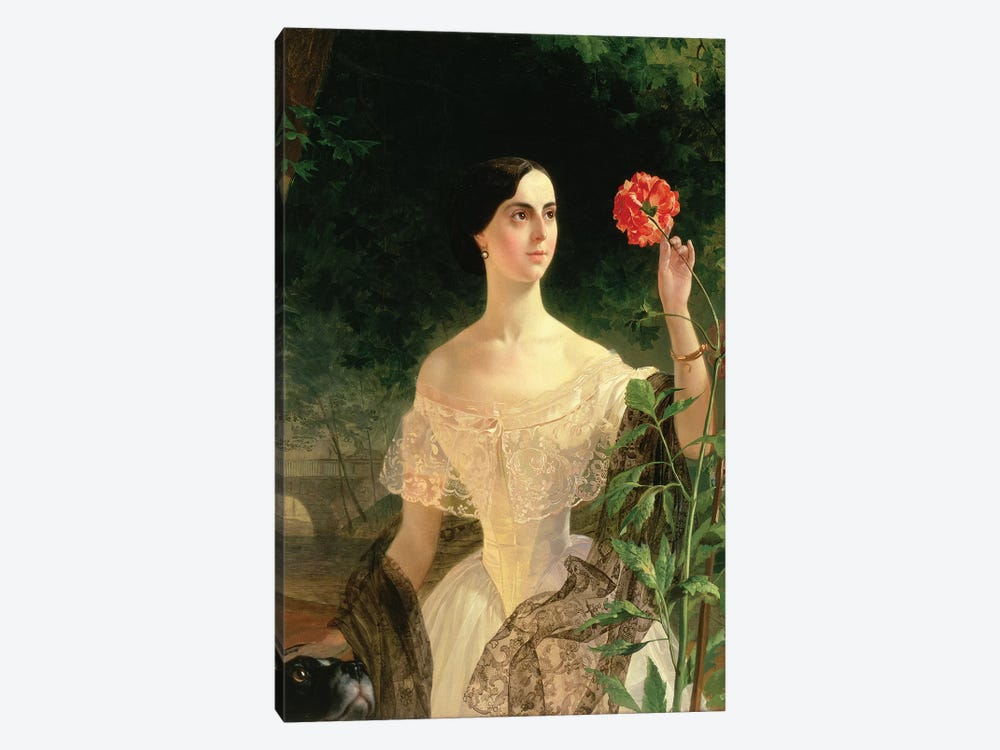 Portrait of Sofia Andreyevna Shuvalova  by Karl Pavlovich Bryullov 1-piece Canvas Artwork