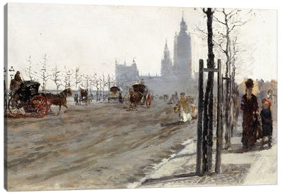 Veduta di Londra (The Victoria Embankment, London), 1875 Canvas Art Print