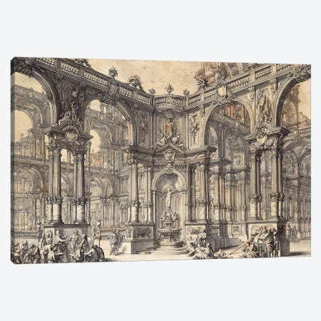The Portico Of An Italian Palace With A Fountain Decorated With A Statue Of Fortune, Canvas Print #BMN11654} by Giuseppe Galli Bibiena Canvas Art
