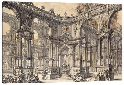 The Portico Of An Italian Palace With A Fountain Decorated With A Statue Of Fortune, Canvas Art Print