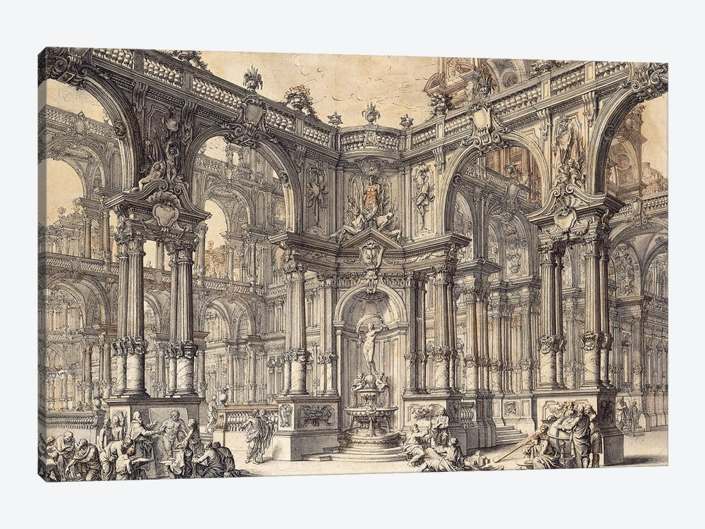 The Portico Of An Italian Palace With A Fountain Decorated With A Statue Of Fortune, by Giuseppe Galli Bibiena 1-piece Canvas Print