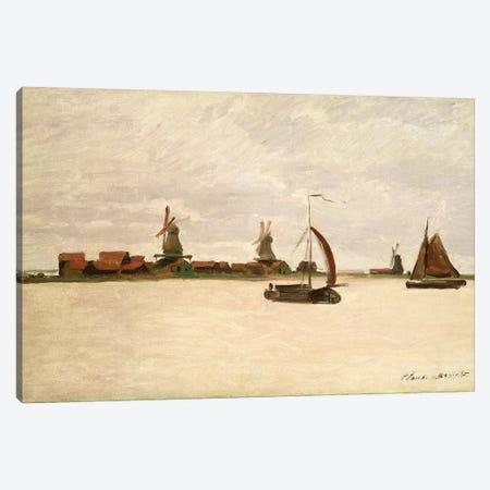 The Outer Harbour at Zaandam, 1871 Canvas Print #BMN1166} by Claude Monet Canvas Artwork
