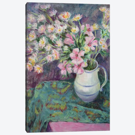Pink Flowers In A Jug Canvas Print #BMN11677} by Karen Armitage Canvas Art