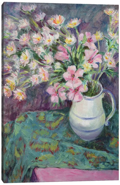 Pink Flowers In A Jug Canvas Art Print