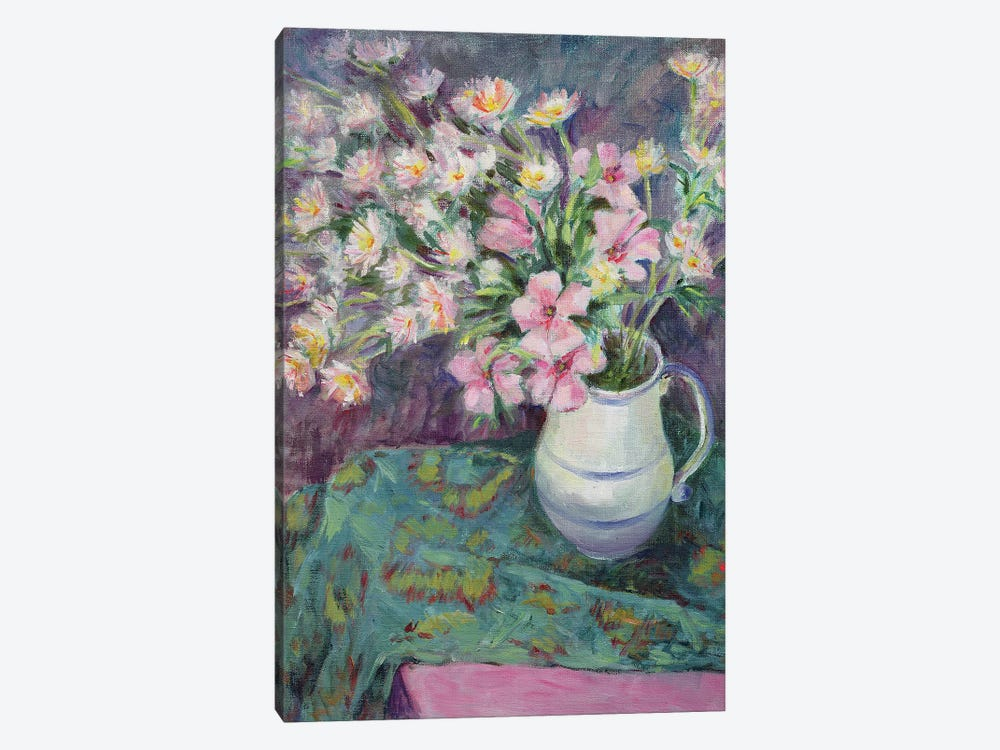 Pink Flowers In A Jug by Karen Armitage 1-piece Canvas Artwork