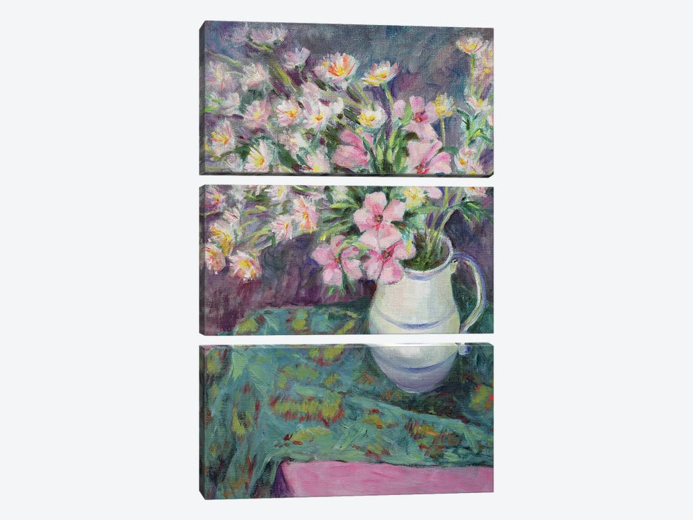 Pink Flowers In A Jug by Karen Armitage 3-piece Canvas Wall Art