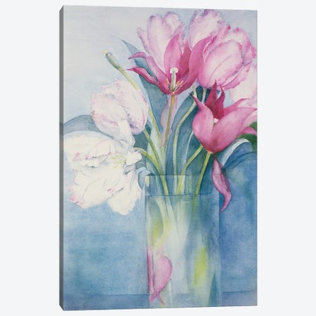 Pink Parrot Tulips And Marlette Canvas Print #BMN11678} by Karen Armitage Canvas Print