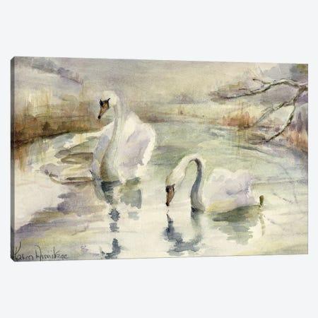 Swans In Winter Canvas Print #BMN11679} by Karen Armitage Art Print