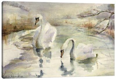 Swans In Winter Canvas Art Print
