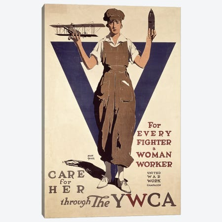For Every Fighter a Woman Worker, 1st World War YWCA propaganda poster Canvas Print #BMN1171} by Adolph Treidler Canvas Wall Art