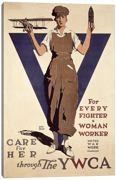 For Every Fighter a Woman Worker, 1st World War YWCA propaganda poster Canvas Art Print