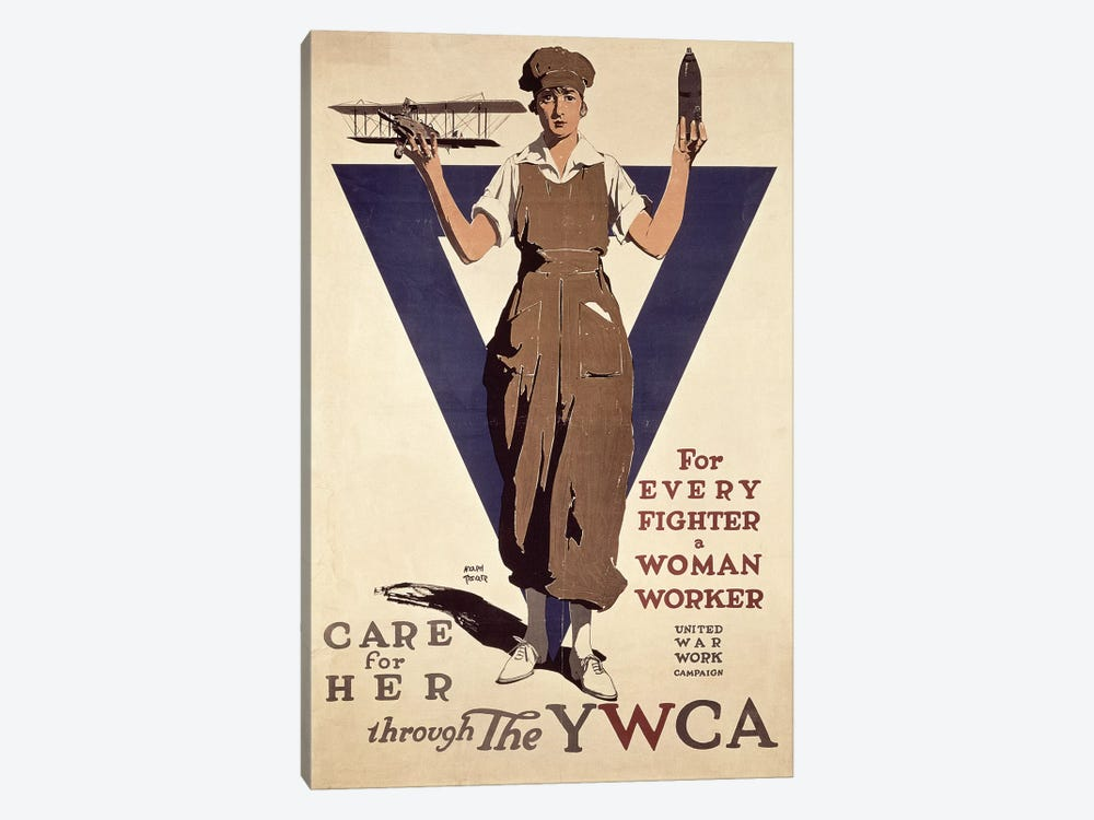For Every Fighter a Woman Worker, 1st World War YWCA propaganda poster by Adolph Treidler 1-piece Canvas Wall Art