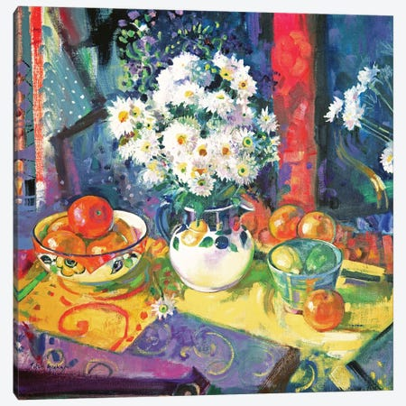 Flowers And Fruit In A Green Bowl, 1997 Canvas Print #BMN11730} by Peter Graham Canvas Artwork