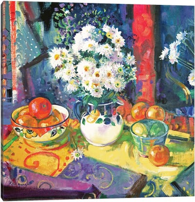 Flowers And Fruit In A Green Bowl, 1997 Canvas Art Print
