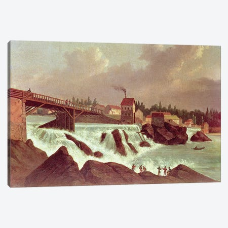 The first cotton mill in America, established by Samuel Slater on the Blackstone River at Pawtucket, Rhode Island, c.1790  Canvas Print #BMN1174} by American School Canvas Print