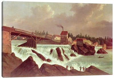 The first cotton mill in America, established by Samuel Slater on the Blackstone River at Pawtucket, Rhode Island, c.1790  Canvas Art Print