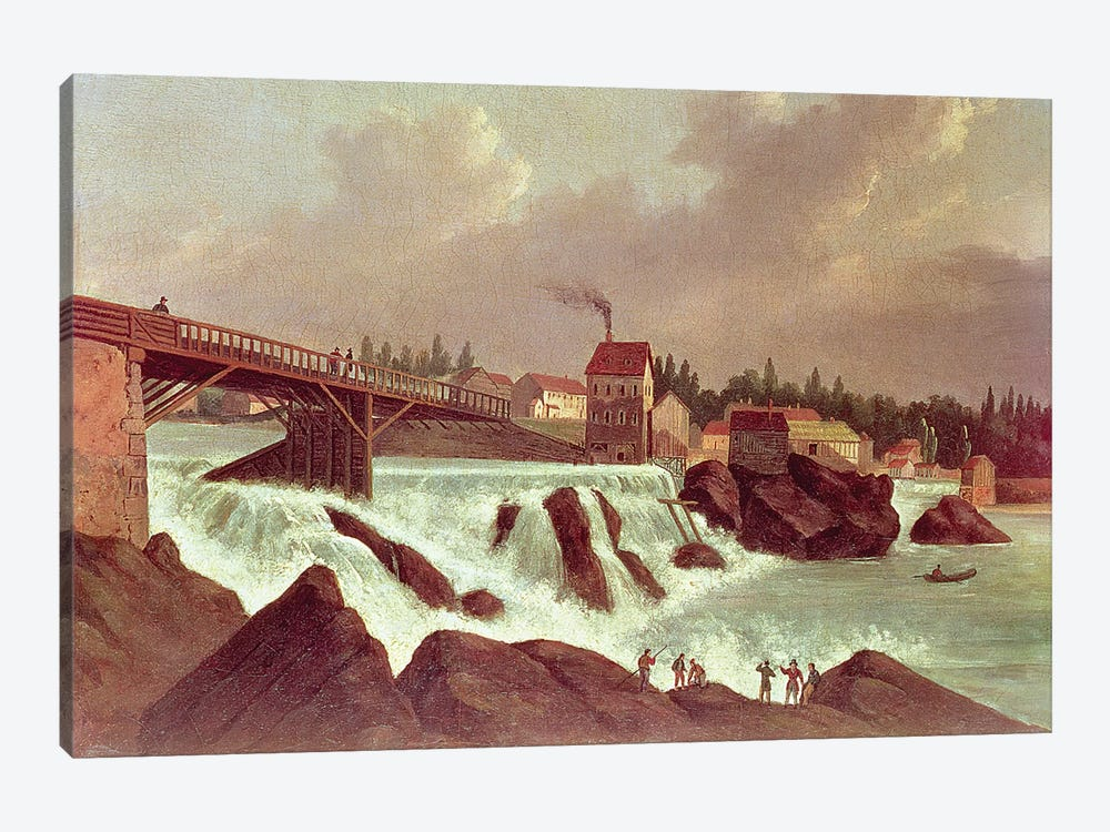The first cotton mill in America, established by Samuel Slater on the Blackstone River at Pawtucket, Rhode Island, c.1790  by American School 1-piece Art Print