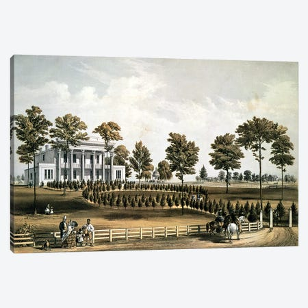 The Hermitage, Jackson's Tomb and Andrew J. Donelson's Residence, 12 miles from Nashville Tennessee, 1856  Canvas Print #BMN1175} by American School Canvas Art Print