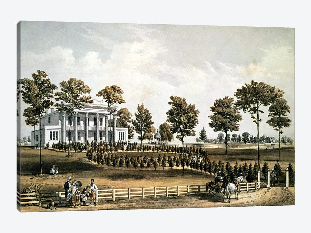 The Hermitage, Jackson's Tomb and Andrew J. Donelson's Residence, 12 miles from Nashville Tennessee, 1856  by American School 1-piece Canvas Artwork