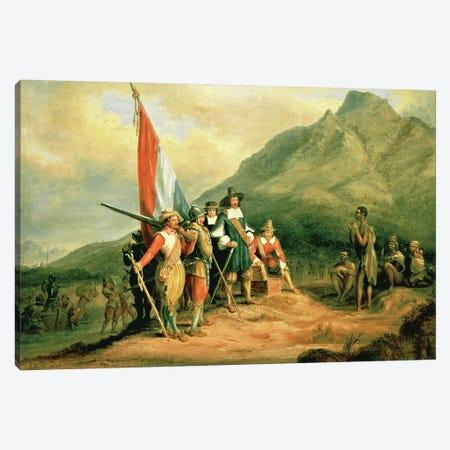 The Landing of Jan van Riebeeck  Canvas Print #BMN1176} by Charles Bell Art Print