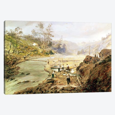Fortyniners' washing gold from the Calaveres River, California, 1858  3-Piece Canvas #BMN1177} by American School Canvas Art Print