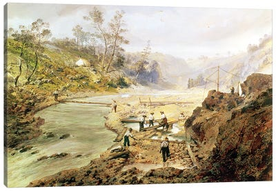 Fortyniners' washing gold from the Calaveres River, California, 1858  Canvas Art Print