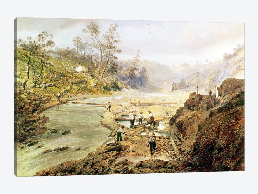 Fortyniners' washing gold from the Calaveres River, California, 1858  by American School 1-piece Canvas Wall Art