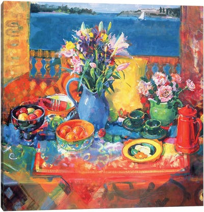 The Balcony Table Canvas Art Print