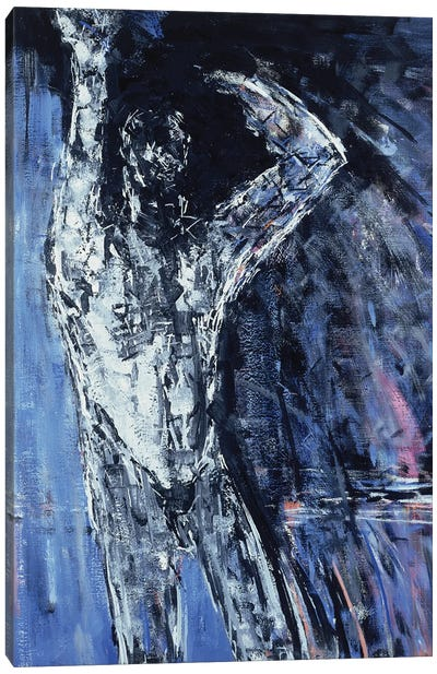 Man (Left Hand Panel), Naked Woman And Naked Man Diptych, 1990 Canvas Art Print