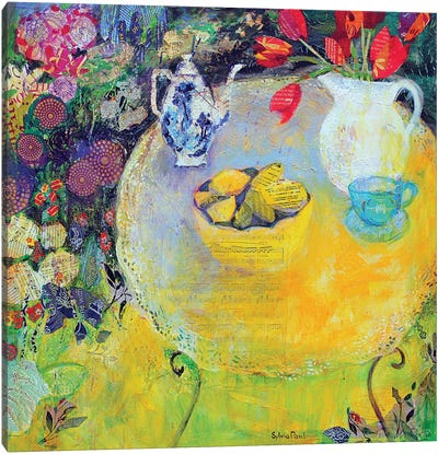 Lemon Tea In The Garden Canvas Art Print