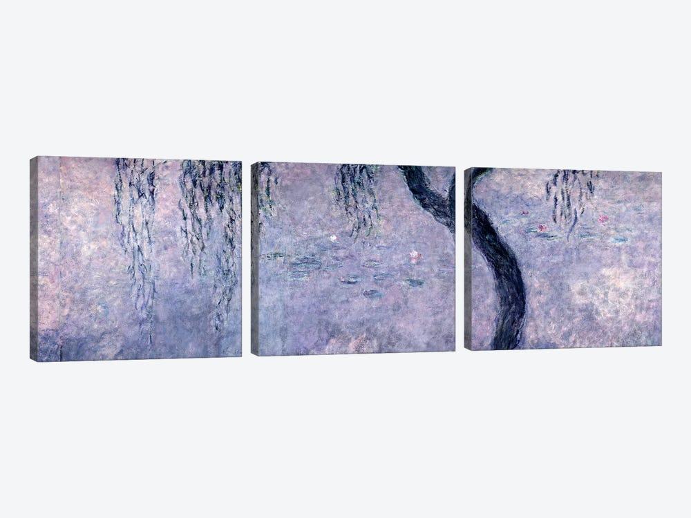 Waterlilies: Two Weeping Willows, right section, 1914-18   by Claude Monet 3-piece Canvas Art Print
