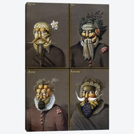 The Four Seasons: Men With Vegetable Heads In The Way Of Giuseppe Arcimboldo. Canvas Print #BMN11854} by Giuseppe Arcimboldo Canvas Wall Art