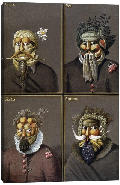 The Four Seasons: Men With Vegetable Heads In The Way Of Giuseppe Arcimboldo. Canvas Art Print