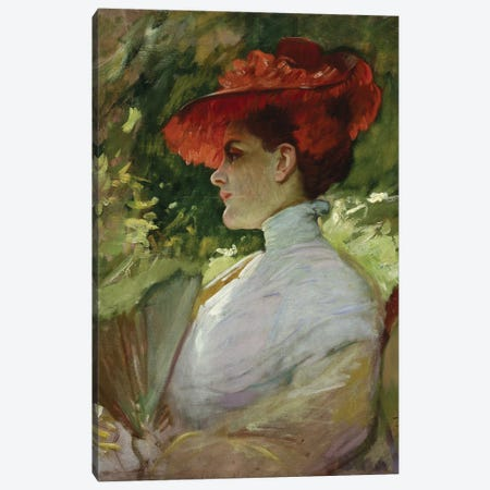 Lady With A Red Hat, Or Portrait Of Maggie Wilson, C.1904 Canvas Print #BMN11871} by Frank Duveneck Canvas Art Print