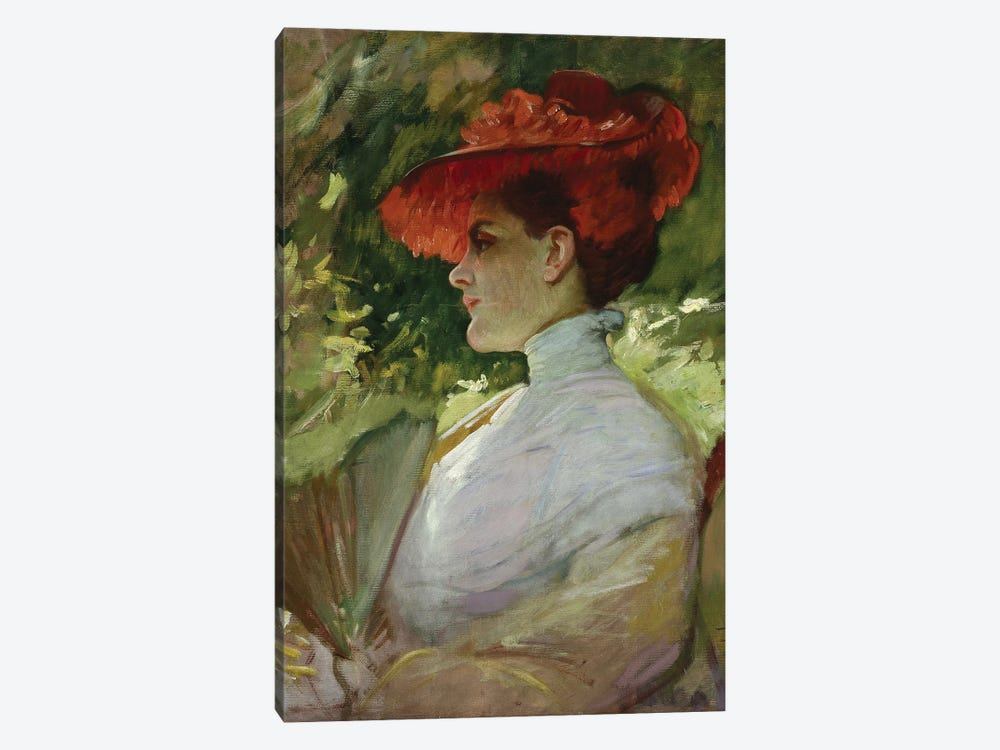 Lady With A Red Hat, Or Portrait Of Maggie Wilson, C.1904 by Frank Duveneck 1-piece Art Print
