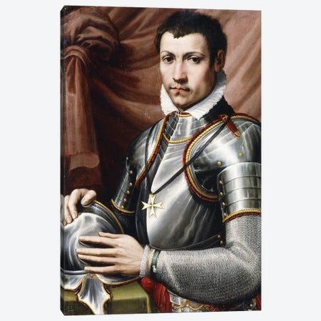 Portrait Of A Knight Of Malta, Half-Length, In Armour, Holding A Helmet On A Table, A Curtain Behind, Canvas Print #BMN11875} by Giorgio Vasari Canvas Wall Art