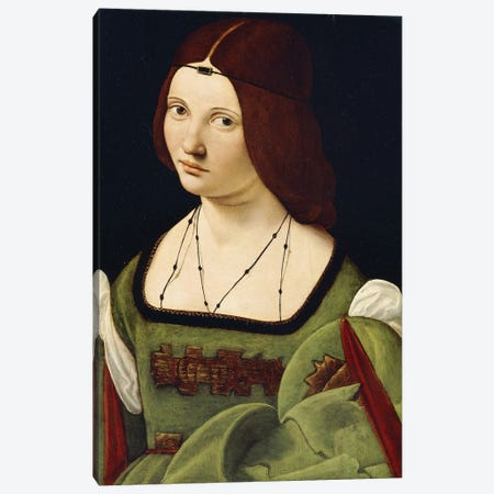 Portrait Of A Lady, Said To Be Clarice Pusterla, Half-Length, In A Green Dress, Canvas Print #BMN11881} by Giovanni Antonio Boltraffio Canvas Art