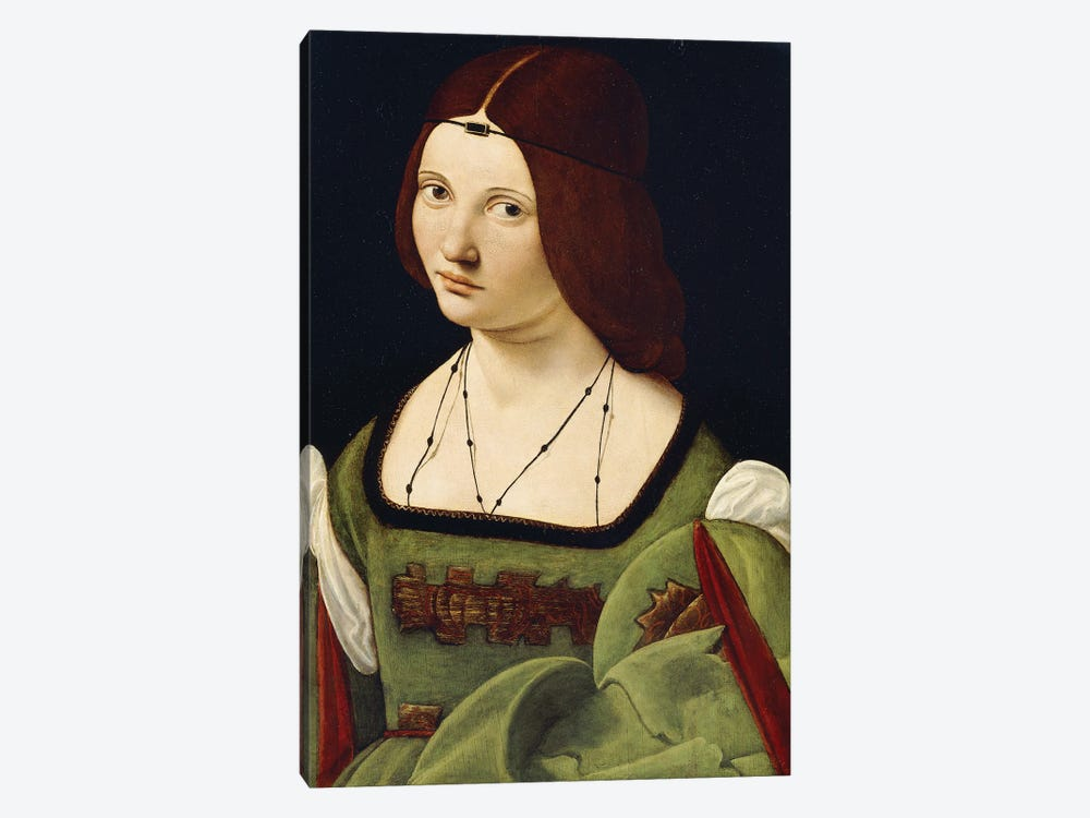 Portrait Of A Lady, Said To Be Clarice Pusterla, Half-Length, In A Green Dress, by Giovanni Antonio Boltraffio 1-piece Canvas Artwork