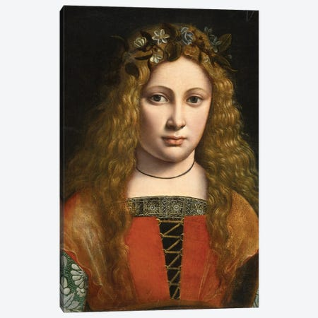 Portrait Of A Young Girl Crowned With Flowers, C.1490 Canvas Print #BMN11882} by Giovanni Antonio Boltraffio Canvas Art