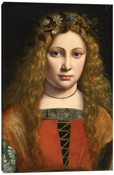 Portrait Of A Young Girl Crowned With Flowers, C.1490 Canvas Art Print