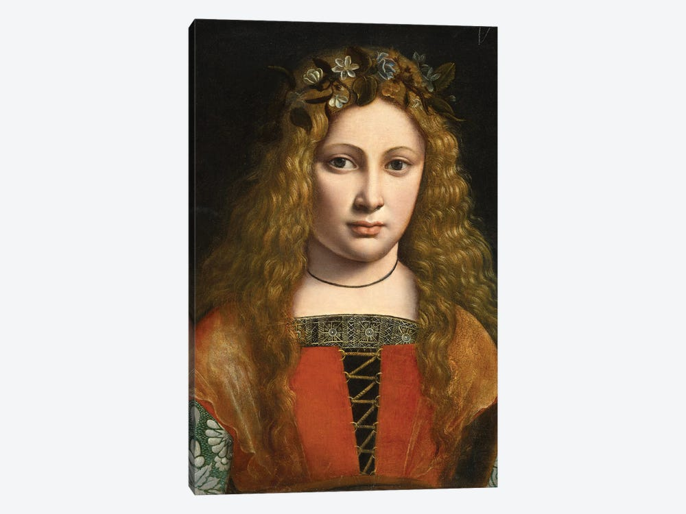 Portrait Of A Young Girl Crowned With Flowers, C.1490 by Giovanni Antonio Boltraffio 1-piece Canvas Print