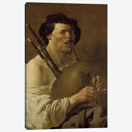 A Man Playing The Bagpipes, 17Th Century Canvas Print #BMN11902} by Hendrick Ter Brugghen Art Print