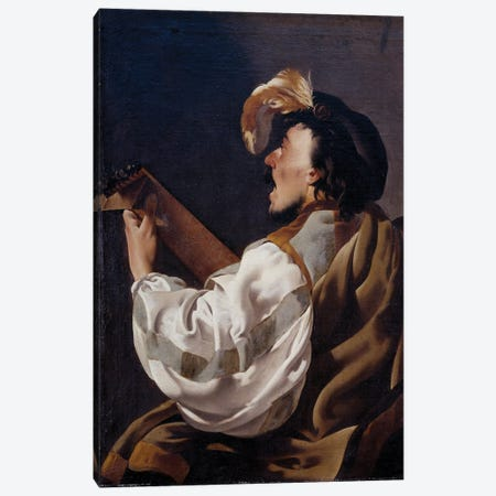 A Singer Accompanying Himself To The Lute, Also Says Lute Player, 1624 Canvas Print #BMN11904} by Hendrick Ter Brugghen Canvas Artwork