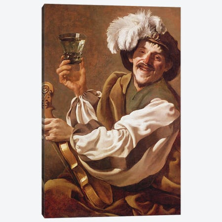 A Violin Player With A Glass Of Wine Canvas Print #BMN11905} by Hendrick Ter Brugghen Canvas Art