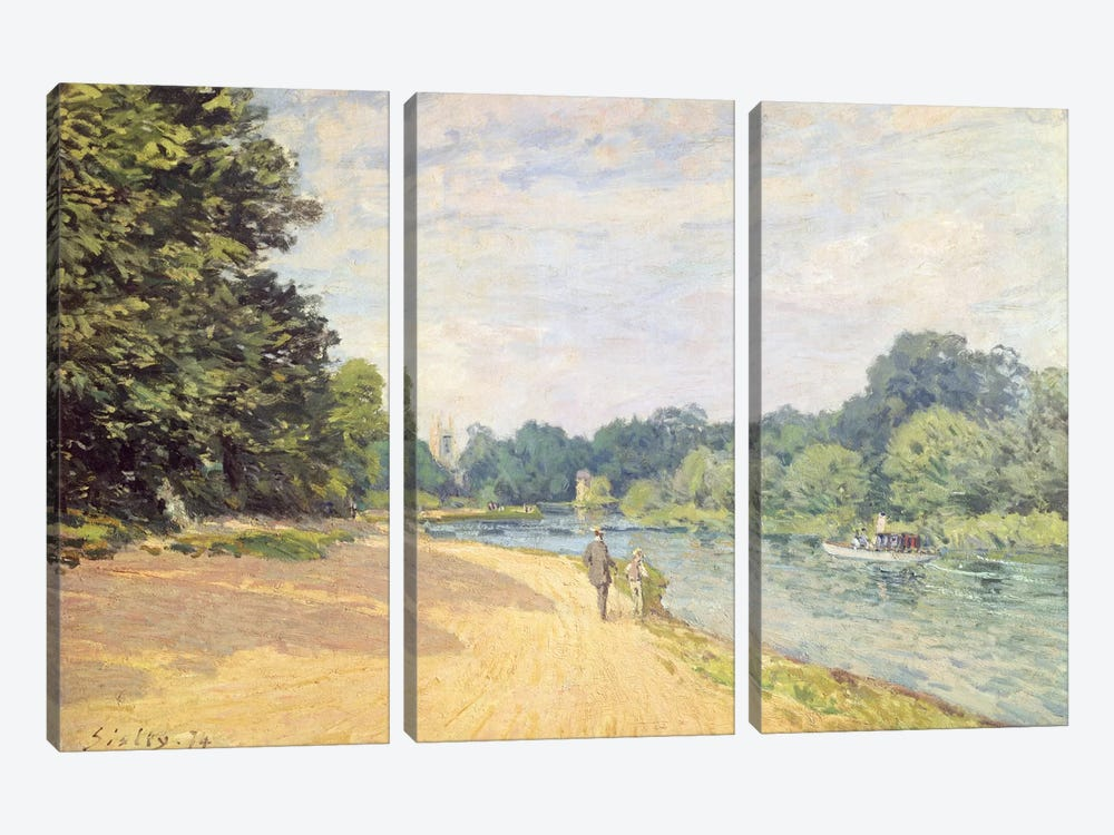 The Thames with Hampton Church (La Tamise Avec Hampton Church), 1874 by Alfred Sisley 3-piece Canvas Art Print