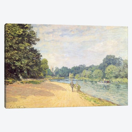 The Thames with Hampton Church (La Tamise Avec Hampton Church), 1874 3-Piece Canvas #BMN1192} by Alfred Sisley Canvas Artwork