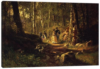 A Walk In A Forest, 1869 Canvas Art Print